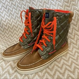 Sperry Acklins Cognac/Olive Quilted Suede Boot